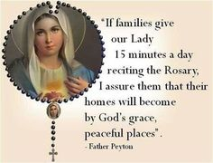 """""""The Rosary is a powerful weapon to put the demons to flight and to keep oneself from sin…If you desire peace in your hearts, in your… Rosary Prayer, Praying The Rosary, Holy Rosary, Faith Prayer, Mary's Prayer, Catholic Religion, Catholic Quotes, Catholic Prayers, Religious Quotes"""