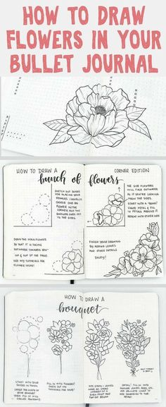 How to draw beautiful flower doodles in your bullet journal! These easy flower drawing tutorials will have you doodling flower patterns all over your bujo. Bullet Journal Spreads, Bullet Journal Inspiration, Journal Ideas, Flower Drawing Tutorials, Flower Drawings, Drawing Ideas, Drawing Sketches, Drawing Faces, Drawing Art