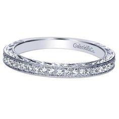 14k White Gold Diamond Straight Wedding Band | Gabriel & Co. New York