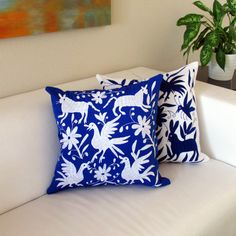 Otomi square pillow cover hand embroidered color white on fabric blue, beautiful high contrast Mexican textile from Hidalgo Mexican Pillows, Mexican Fabric, Mexican Textiles, Mexican Interior Design, Mexican Embroidery, Muslin Fabric, 20x20 Pillow Covers, Chair Covers, Eclectic Decor