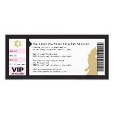 Concert Ticket Bat Mitzvah Invitation in Black $2.60 Zazzle