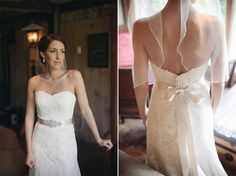 Allison's gown is the Pasadena by @Watters  from the Wedding Store at Liz Clinton of Andover, for her summer garden real wedding at Crossed Keys Inn, Andover