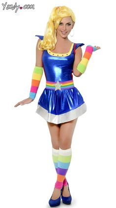 Rainbow Brite Belt and Warmers with Blue Dress, Rainbow Brite Accessories, Blue Metallic Dress