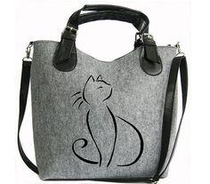 Cat handbag Felt cat purse Cat bag Felted bag by BPStudioDesign http://amzn.to/2k2HTMQ