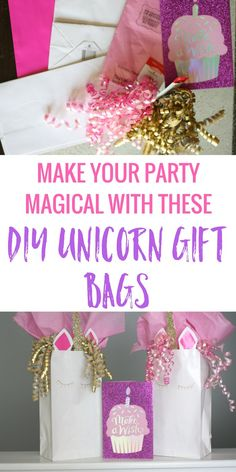 Who wouldn't want a unicorn party? They're so magical and colorful, and make and everyone happy. Make your party magical with these DIY unicorn gift bags. #ad #birthdaysmadebrighter
