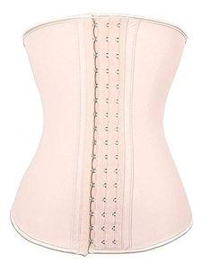 XS, BEIGE Luxe Cart Womens Waist Trainer Latex Spandex Cotton 9-Steel Bone Corset Cincher Shapewear Weight Loss