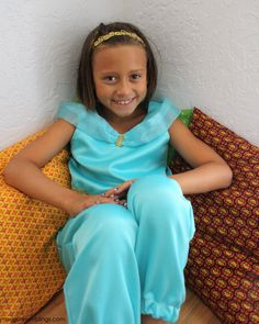 Princess Jasmine Costume Tutorial tips for making your own pattern so you can make any size. Also works as a Genie costume.