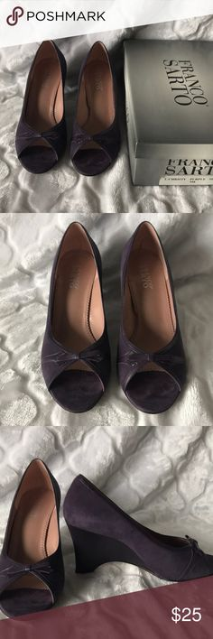 Franco Sarto purple wedges size 9 Franco Sarto purple wedges size 9. Worn once in gently used condition. Box included. Franco Sarto Shoes