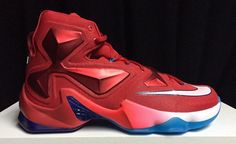 39f7a8286a33f Our first look at the Nike LeBron 13 USA that features a red upper with  white and blue detailing.