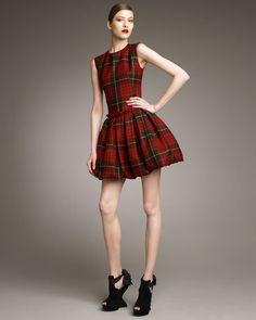 McQ by Alexander McQueen McQ Alexander McQueen Tartan Pouf-Skirt Dress