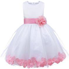 YiZYiF Mädchen Kleid Prinzessin Kleid Blumenmädchen Hochzeit Festzug Gebunden Taille 92-164 Rosa 110
