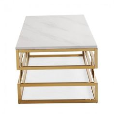 White Marble Rectangular Gold Squared Coffee Table ($439) ❤ liked on Polyvore featuring home, furniture, tables, accent tables, square accent table, square coffee table, square coffe tables, gold coffee table and white marble coffee table
