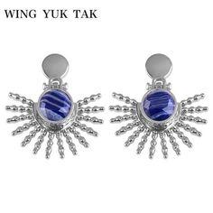 92890455e wing yuk tak Fashion Simple Gold Color Hyperbole Unique Stud Earrings for  Women Irregular Blue Resin
