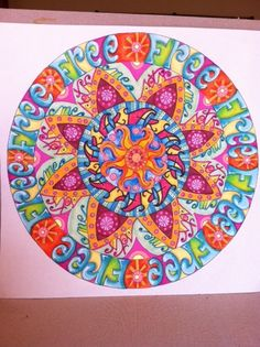 """""""Mandala Madness"""". Unique color harmony within each ring: warm, cool, monochromatic and a complementary or split complement. (Instructions and materials outlined)"""
