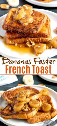 french toast recipe Bananas Foster French Toast - tender and golden brioche French toast topped with the most decadent caramelized brown sugar banana topping. This easy French toast recipe is mouthwatering delicious! Banana Bread French Toast, Challah French Toast, Bananas Foster French Toast, French Toast Rolls, Nutella French Toast, Best French Toast, Cinnamon French Toast, French Toast Bake, French Toast Recipe Brown Sugar