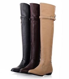 new 2014 over the knee high boots women motorcycle boots high leg riding boots low heel leather shoes big plus size 34 from Shoes. Flat Heel Boots, High Leg Boots, Over The Knee Boots, Shoe Boots, Long Boots, Stylish Shoes For Women, Stylish Boots, Women's Motorcycle Boots, Women Motorcycle