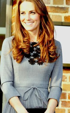 I love the simple yet stunning trim on this dress of Princess Kate's!