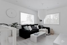 This 236 sqm. sized house in Finland hides inside an interior design with a pure white color palette. Starting from the ground floor, the combination of kitchen, dining area and living room creates an social space for a modern family life. The large windows and great room height highlight the all white surfaces and furniture, making the seasons seen through the windows become part of the interior design itself. This beauty is listed atBo LKVreal estate.                  Photos bolkv.fi
