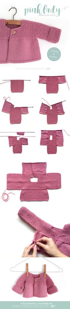 Aprende a Tejer una adorable Rebeca de Punto con este Tutorial paso a paso con p., Aprende a Tejer una adorable Rebeca de Punto con este Tutorial paso a paso con p. Baby Knitting Patterns, Knitting For Kids, Baby Patterns, Free Knitting, Knitting Projects, Crochet Patterns, Knitting Ideas, Pink Ladies, Knitted Baby Cardigan