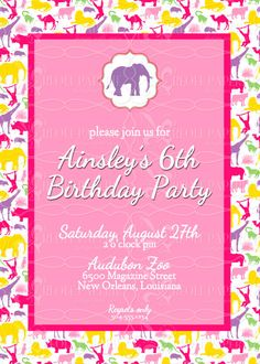 Zoo birthday party invitation printable zoo ticket invitation elegant girls zoo birthday party invitation stopboris Choice Image