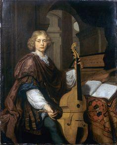 "VIOLA da GAMBA    ""Youth with a viola da gamba"" Jan Verkolje [1650 – 1693] Dutch Golden Age painter and mezzotint maker."