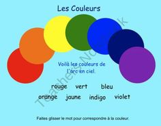 FREEBIE This is a Smart Notebook 11 file. This fun and interactive Smartboard file introduces the 7 colours of the rainbow with two interactive act. French For Beginners, French Colors, Core French, French Phrases, French Classroom, French Resources, Teaching Activities, Interactive Activities, French Language Learning