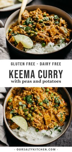 This Keema Curry is an incredibly flavorful ground beef curry with peas, potatoes, tomatoes, and coconut milk. It's perfectly spiced but not too spicy, and ready in 40 minutes. Easy to cook and super Indian Food Recipes, Real Food Recipes, Cooking Recipes, Ethnic Recipes, Dairy Free Indian Recipes, Cooking Bacon, Fast Recipes, Vegetarian Recipes, Beef Keema