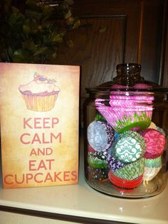 a little of my own home cupcake decor!    LOVE THIS IDEA!!!!