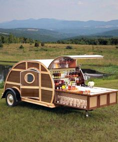 Paneled Woody Teardrop camper trailer with pull-out cocktail bar for a Bulleit Bourbon tailgater Camping Humor, Camping Glamping, Camping Hacks, Funny Camping, Camping Stuff, Camping Life, Rv Life, Camping Spots, Luxury Camping