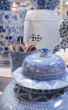 Antlers and Blue and White China at #hpmkt Love!!