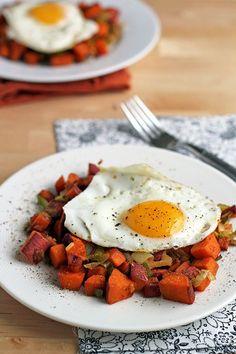 Sweet Potato and Leek Hash with Fried Eggs (vegetarian, paleo, gluten-free)
