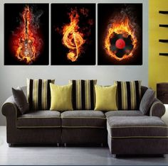 Music Art 3 Panel Wall Painting Modern Home Decors Black Burning Guitar Pop Art Pictures Decoration On Canvas Painting Printed $14.86