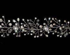 Diadema de novia perla y cristal doble peine Floral vid