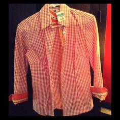 J.McLaughlin Button Down size 0 Pink & white checkered button down shirt with 100% silk sleeve cuffs. New & never worn. J. McLaughlin Tops Button Down Shirts