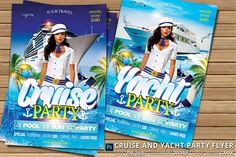 Cruise And Yacht Party Flyer Templates - 1 .- Drawn in Photoshop CC- Size: bleed- Resolution: by oloreon Business Illustration, Pencil Illustration, Business Brochure, Business Card Logo, Yacht Cruises, Yacht Party, Flyer Design Inspiration, Image Model, Party Flyer