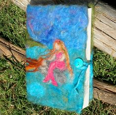 """Lounging Mermaids"" needle felted journal cover/ book cover waldorf inspired Detail by Nushkie Design, via Flickr"