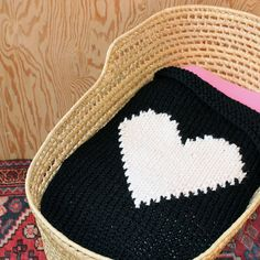 Black & White Knitted Heart Baby or Lap/Throw Blanket. via Etsy.