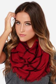 Ivy League Red Plaid Infinity Scarf