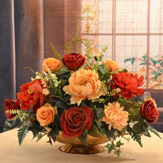 Rose and Peony Large Silk Flower Centerpiece AR352 - Click Image to Close