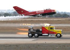 Shockwave jet truck 'racing' Red Bull's  MiG 17 burned the hair off my arm when starting for this Beast.