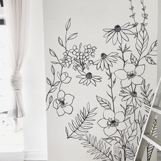 Wildflower Mural Custom Black and White Minimal Wall Art – Love Karla Designs Wall art by Diy Wall Painting, Diy Wall Art, Wall Painting Flowers, Time Painting, Diy Wand, Wall Art Designs, Wall Design, Paint Designs, Flower Mural