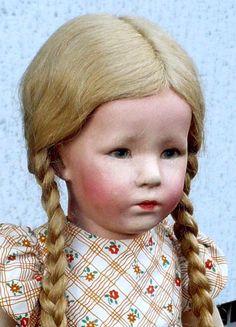 Käthe Kruse Puppe mit Stoff-Brustblattkopf in orig.Kleidung 50cm 1929 RAR+SELTEN