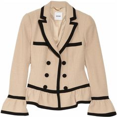 Moschino Bouclé wool-blend peplum jacket ($1,229) ❤ liked on Polyvore featuring outerwear, jackets, blazers, coats, beige blazer, fitted blazer, pocket jacket, double breasted blazer and shoulder pad blazer