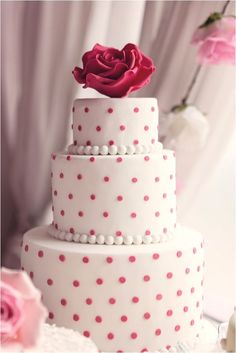 Polka dot wedding cake but with RED dots!