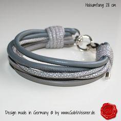 Mini Halsband 6-reihig in Grau