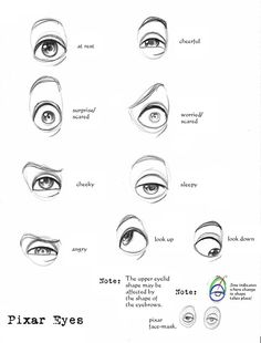 """Pixar Eyes Reference by ~Suu999 on deviantart -- """"I sketched some Pixar eyes to show how squashy-stretchy eyes work. Enjoy! ^_^ """"  #eyes #drawings #theeyes"""