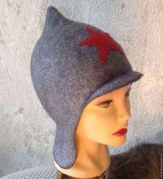 """Купить Детская валяная """"Будёновка"""" - серебряный, однотонный, шапочка для ребенка, Валяние, буденовка, шапочка для мальчика"""