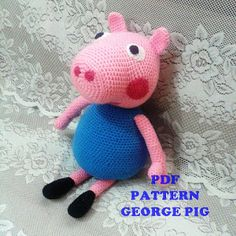 Very easy to crochet. :) Have a nice week! Diy Crochet Toys, Crochet Patterns Amigurumi, Cute Crochet, Crochet Animals, Crochet Baby, Crochet Projects, Peppa Pig Amigurumi, Papa Pig, Patron Crochet
