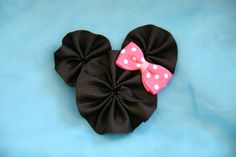 Mouse Ear Bow Ribbon Sculpture Hair Clip by CelticTideCreations