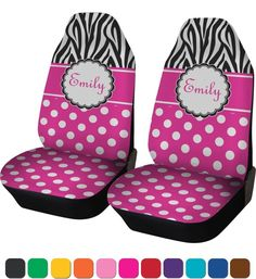 Number 4 Zebra Print Polka Dots Car Seat Covers Set Of Two